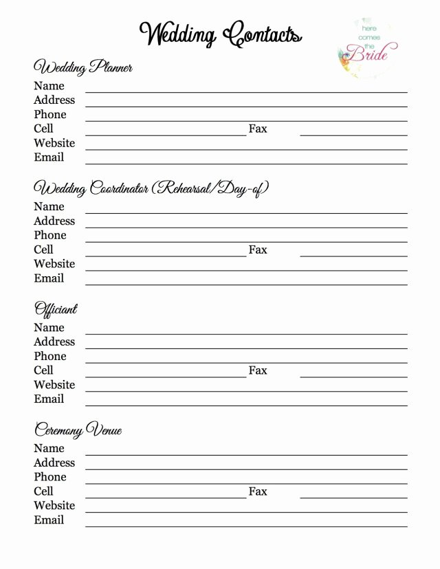 Wedding Vendor Contact List Template Inspirational Wedding Planning Vendor Contact List