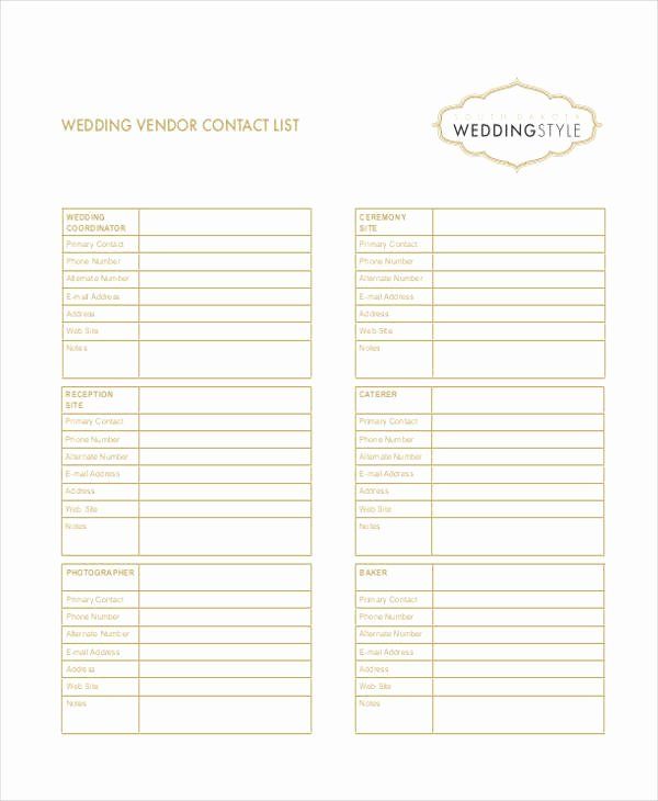 Wedding Vendor Contact List Template Inspirational Wedding Vendor Contact List Excel Driverlayer Search Engine