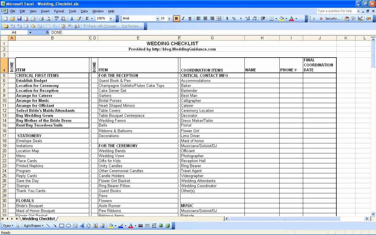 Wedding Vendor Contact List Template Luxury Spreadsheet for Wedding Planning