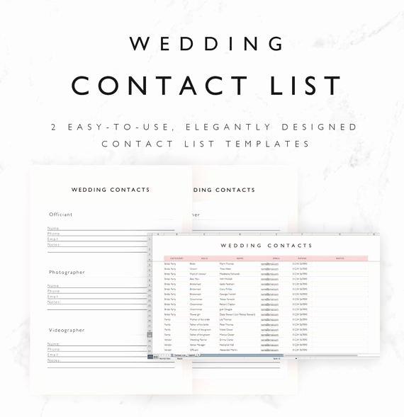 Wedding Vendor Contact List Template Luxury Wedding Contact List Template Excel Spreadsheet Printable