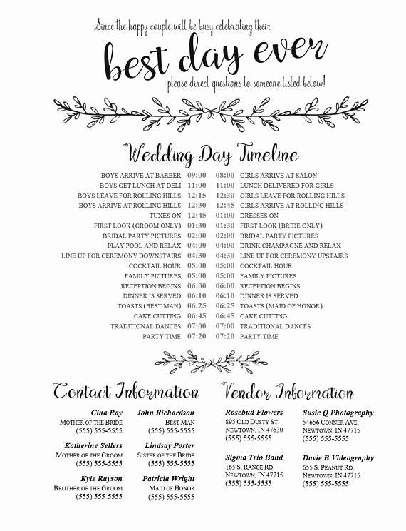 Wedding Vendor Contact List Template Unique Editable Wedding Timeline Edit In Word Phone Numbers