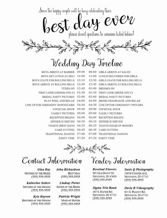 Wedding Vendors List Template Elegant Editable Wedding Timeline Edit In Word Phone Numbers