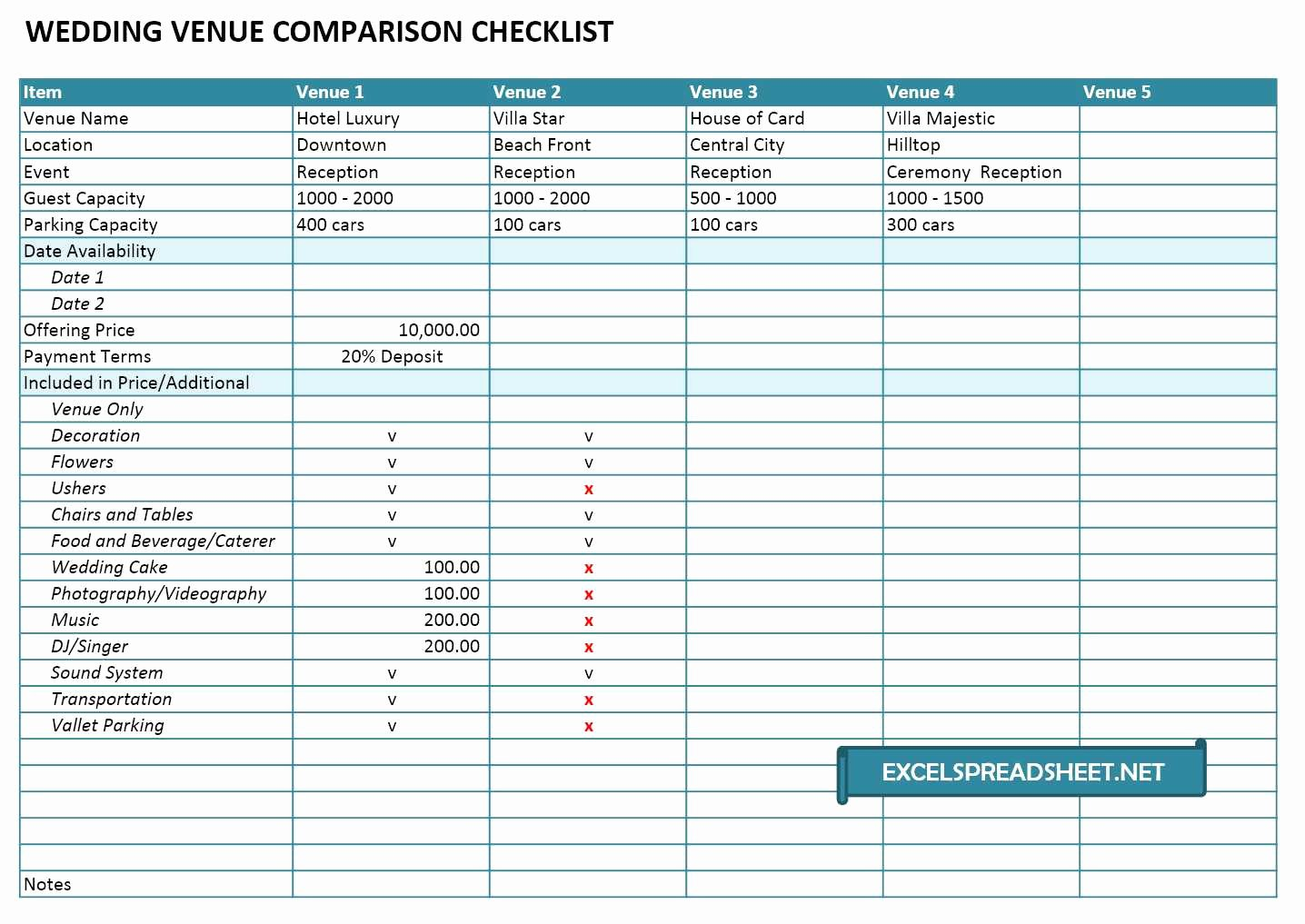 Wedding Vendors List Template Fresh 20 Useful Wedding Spreadsheets Excel Spreadsheet