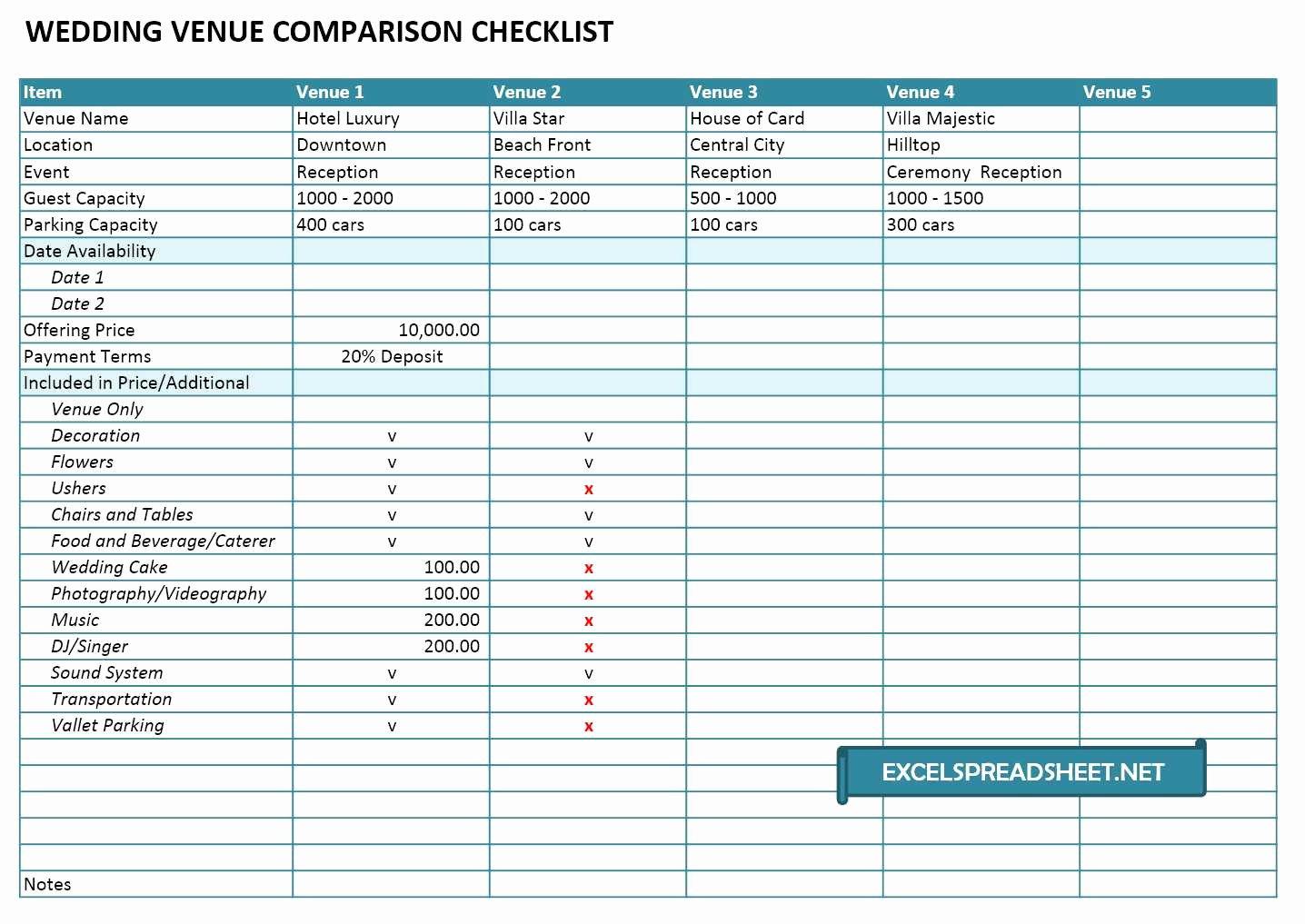 Wedding Vendors List Template Fresh 20 Useful Wedding Spreadsheets Excel Spreadsheet