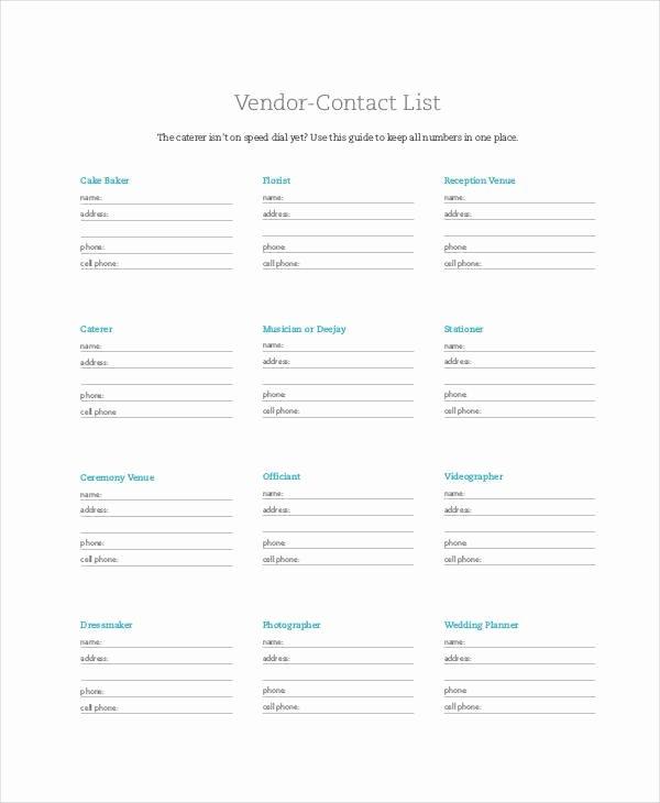Wedding Vendors List Template Inspirational Vendor Contact List Free Printable I thee Wed – Teplates