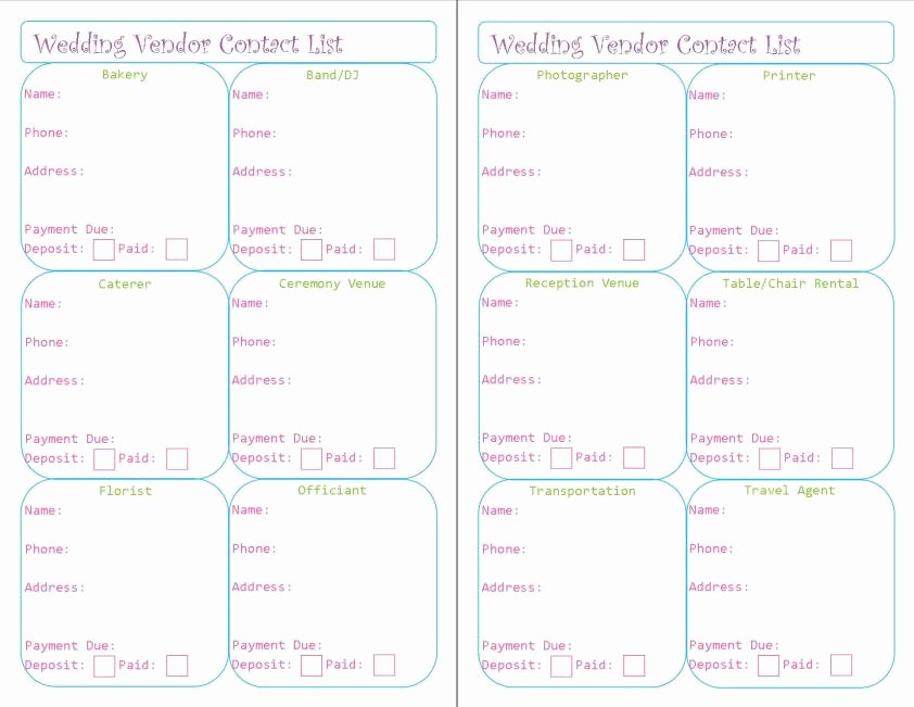 Wedding Vendors List Template Lovely Wedding Planner Printables – Peanut and Jellybean