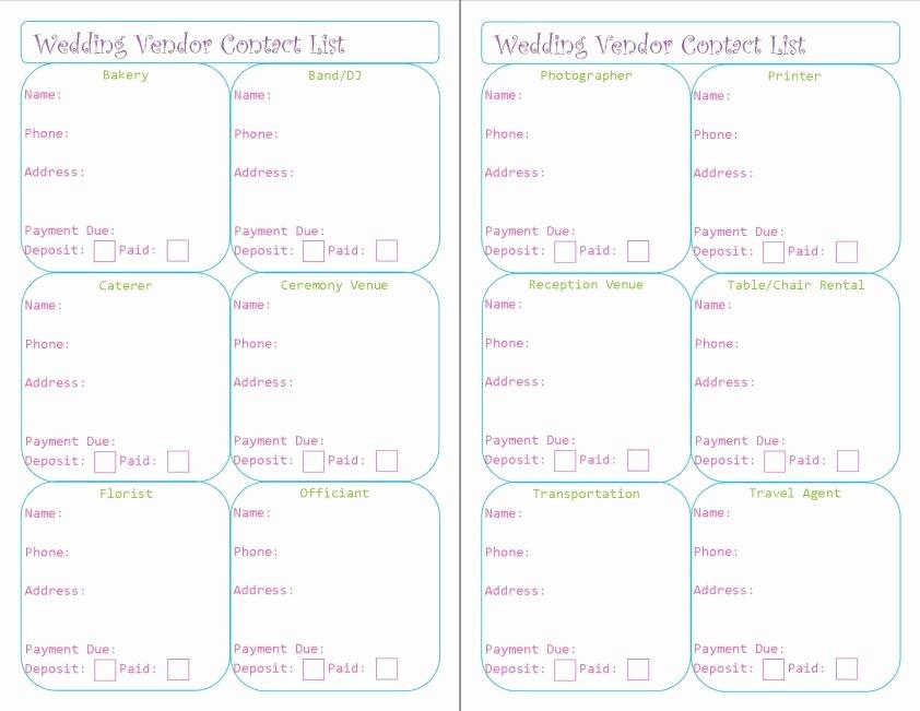 Wedding Vendors List Template Lovely Wedding Planner Printables – Peanut and Jellybean