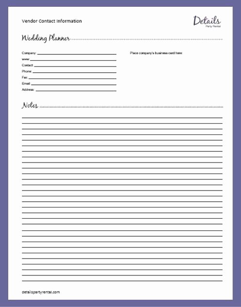 Wedding Vendors List Template Luxury Details Party Rental – Planning Templates