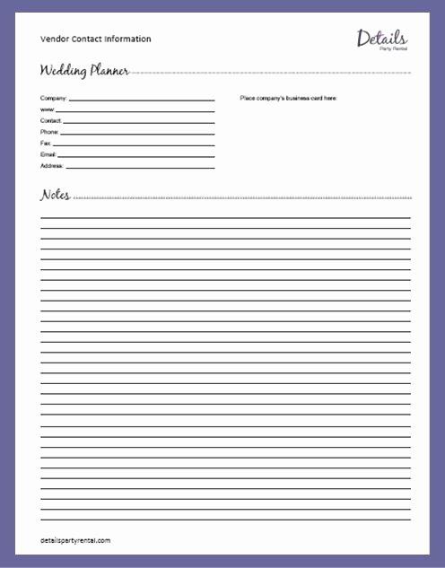Wedding Vendors List Template Luxury Details Party Rental – Planning Templates