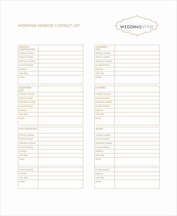 Wedding Vendors List Template Unique Sample Vendor List Template 6 Free Documents Download