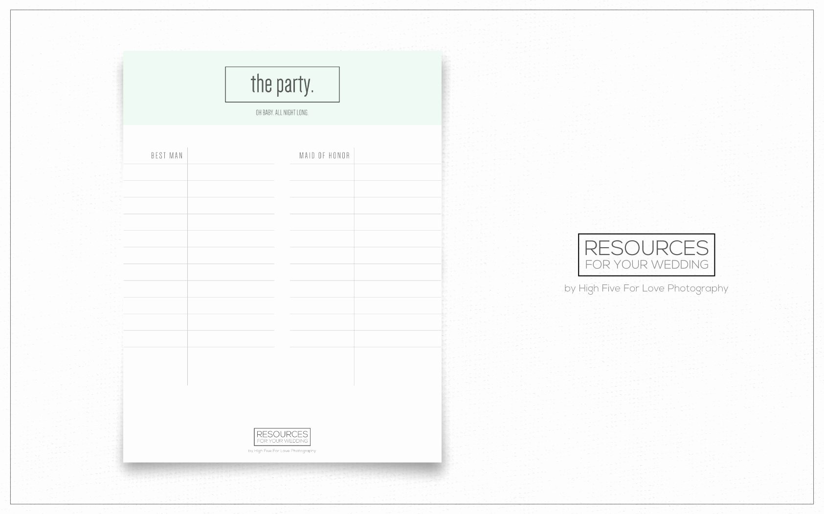 Wedding Vendors List Template Unique the Party Printable Wedding Planning Resources by High