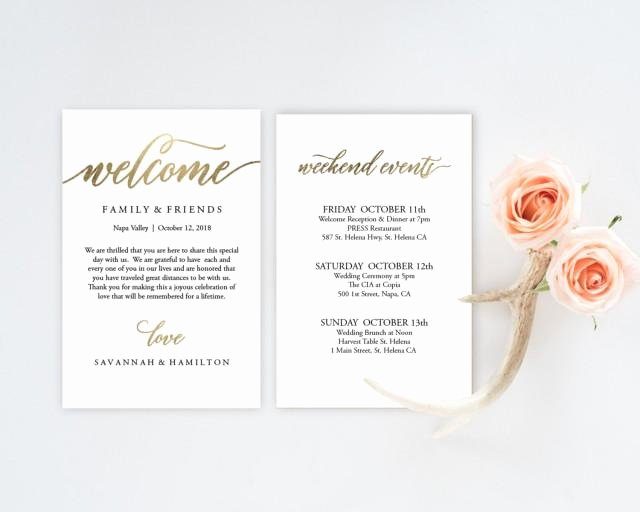 Wedding Welcome Letter Template Free Awesome Wedding Wel E Bag Note Gold Wedding Calligraphy