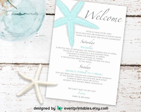 Wedding Welcome Letter Template Free Beautiful Printable Starfish Wel E Letter Beach Wedding Itinerary
