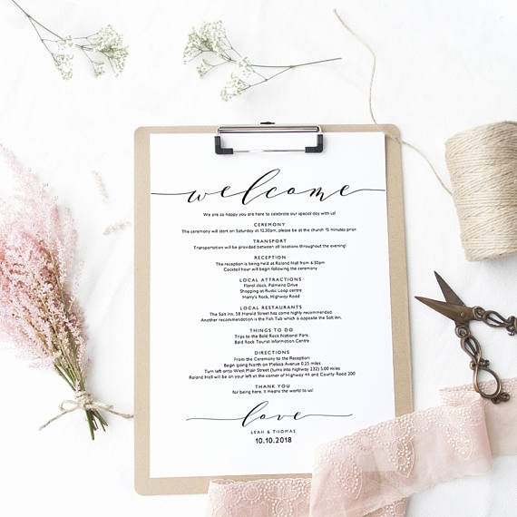 Wedding Welcome Letter Template Free Elegant Wel E Itinerary Wedding Guest Wel E Letter Template
