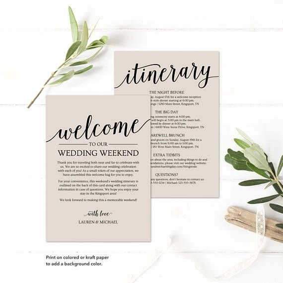 Wedding Welcome Letter Template Free Fresh Wedding Itinerary Template Printable Wedding Wel E
