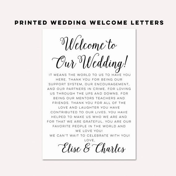 Wedding Welcome Letter Template Free Fresh Wedding Wel E Letterswedding Itinerarieswedding by