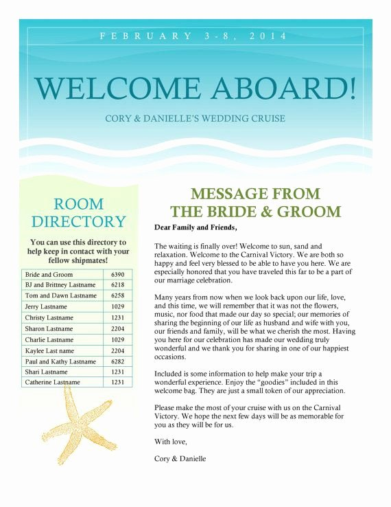 Wedding Welcome Letter Template Free Luxury Cruise Wedding Wel E Letter Newsletter by