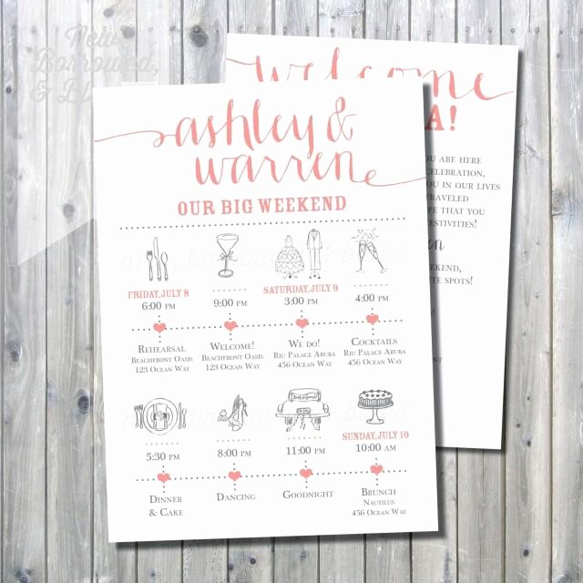 Wedding Welcome Letter Template Free Luxury Printable Wedding Itinerary Timeline with Wel E Letter
