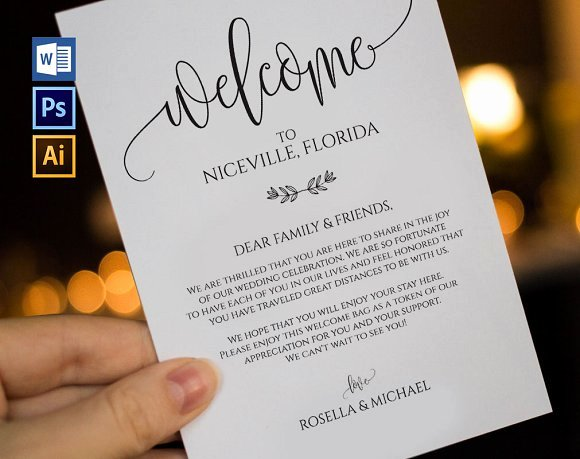 Wedding Welcome Letter Template Free Luxury Wedding Wel E Bag Note Wpc 108 Invitation Templates On