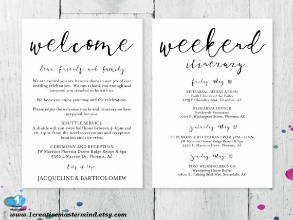 Wedding Welcome Letter Template Free Unique Diy Wedding Wel E Bag Note Wel E Bag Letter Printable