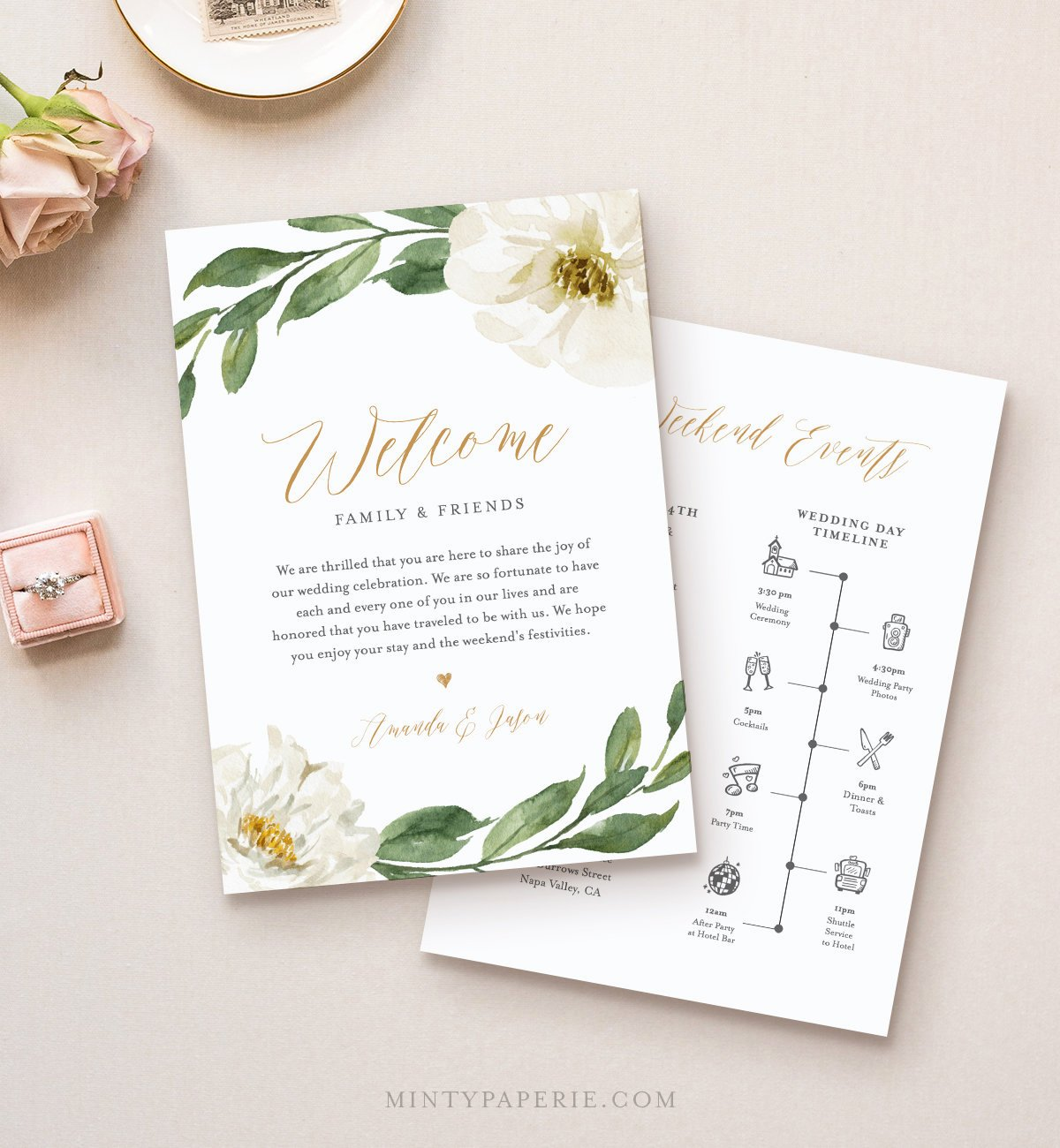 Wedding Welcome Letter Template Free Unique Timeline & Wedding Wel E Letter Template Boho Greenery