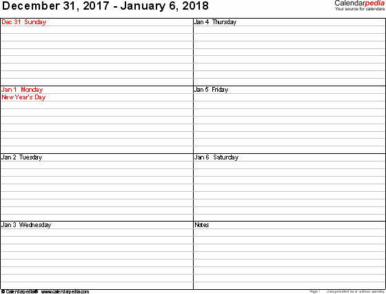 Week Schedule Template Pdf Beautiful Weekly Calendar 2018 for Pdf 12 Free Printable Templates