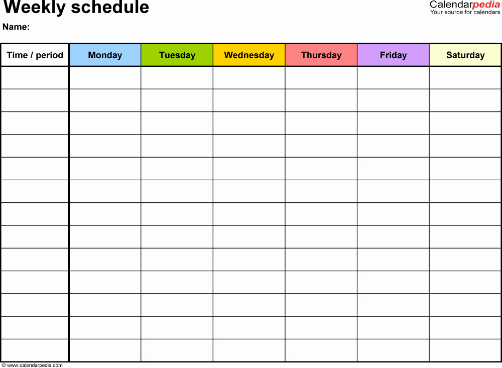 Week Schedule Template Pdf Best Of Free Weekly Schedule Templates for Pdf 18 Templates