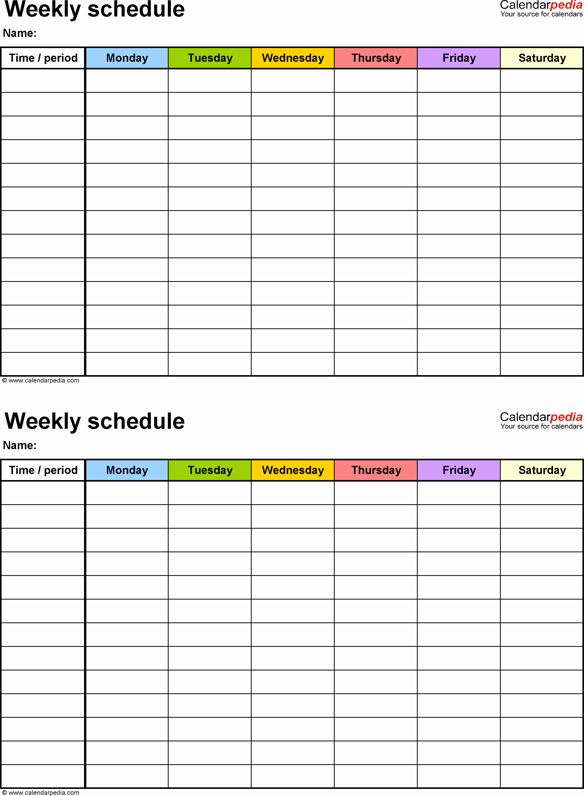 Week Schedule Template Pdf Luxury Free Weekly Schedule Templates for Pdf 18 Templates