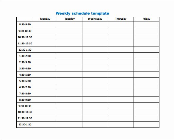 Week Schedule Template Pdf New 9 Weekly Work Schedule Templates Pdf Docs