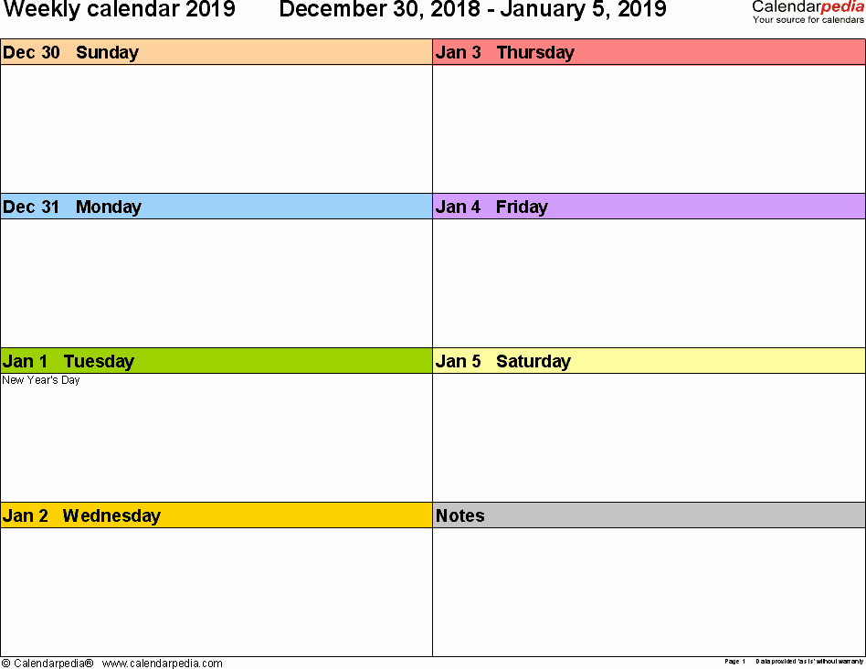 Week Schedule Template Pdf Unique Weekly Calendars 2019 for Pdf 12 Free Printable Templates