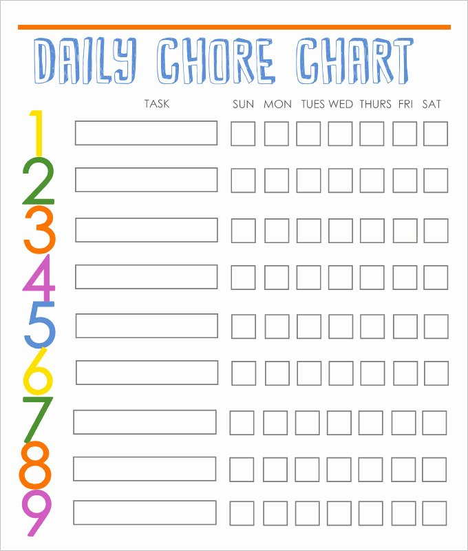 Weekly Chore Chart Template Beautiful Weekly Family Chore Chart