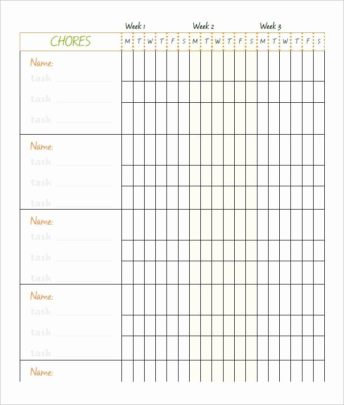 Weekly Chore Chart Template Best Of Free Chore Chart Template Family Chore Chart Template 10