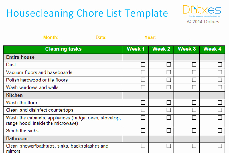 Weekly Chore Chart Template Elegant House Cleaning Chore List Template Weekly Dotxes