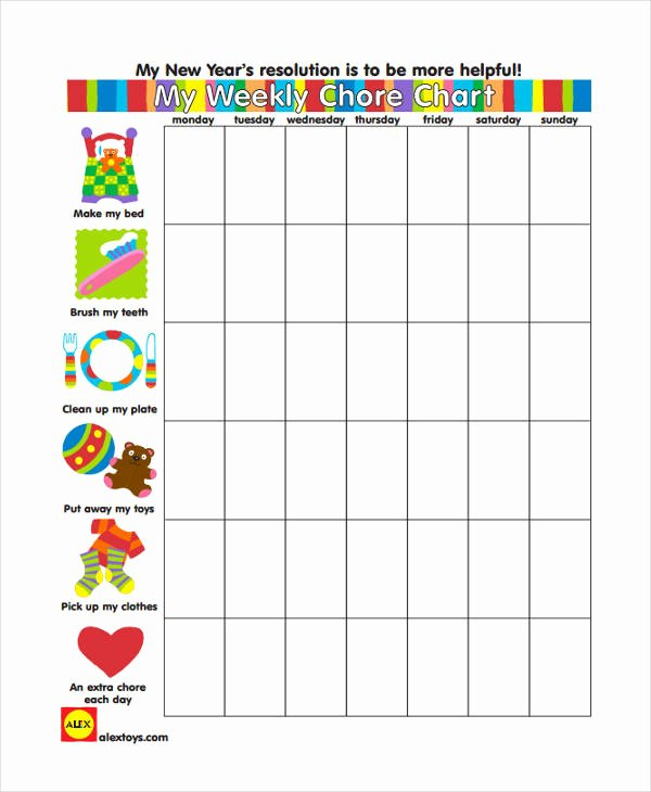 Weekly Chore Chart Template Lovely 9 Chore Chart Templates In Pdf