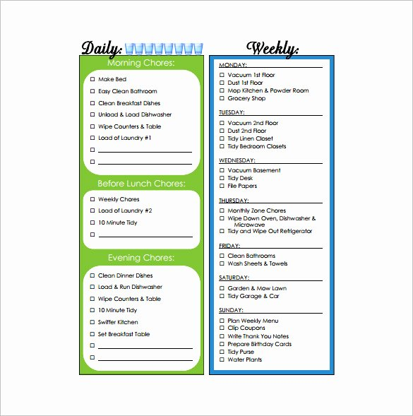 Weekly Chore Chart Template Luxury 11 Sample Weekly Chore Chart Template Free Sample