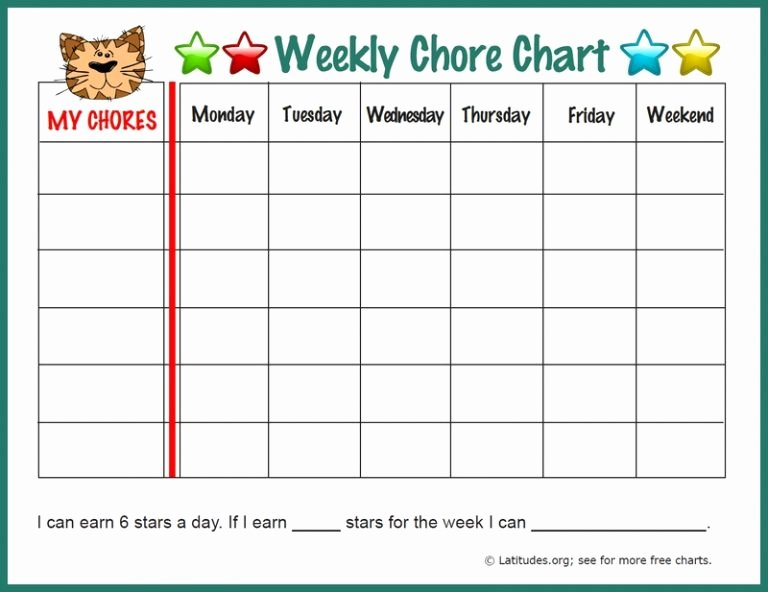 Weekly Chore Chart Template New Weekly Chore Chart