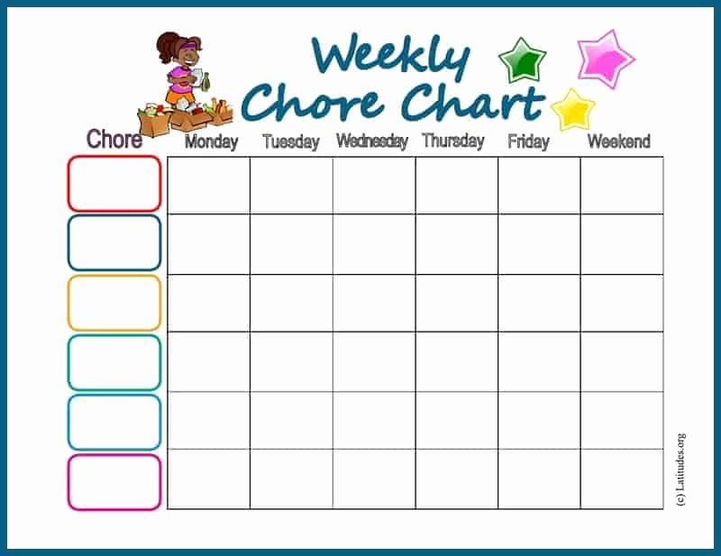 Weekly Chore Chart Templates Awesome Free Chore Chart My Weekly Star