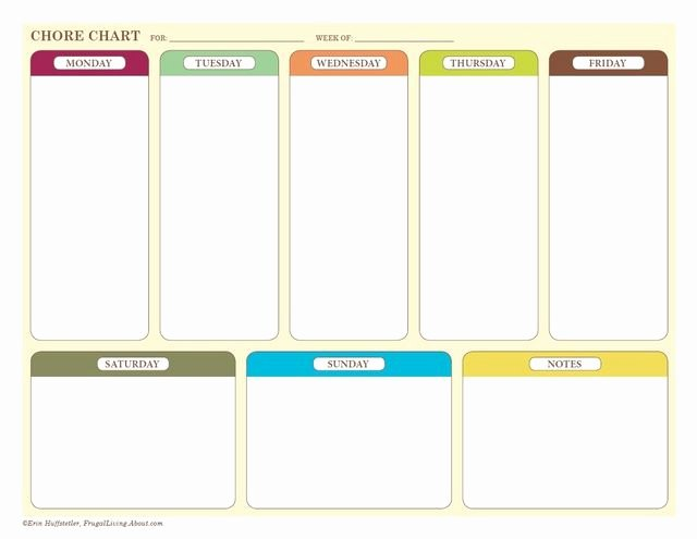 Weekly Chore Chart Templates Inspirational Free Printable Weekly Chore Charts