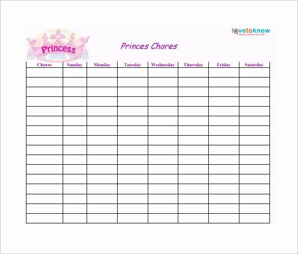 Weekly Chore Chart Templates Inspirational Weekly Chore Chart Template 24 Free Word Excel Pdf