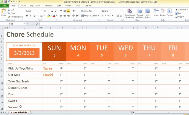 Weekly Chore Chart Templates Lovely Weekly Chore Schedule Template for Excel 2013