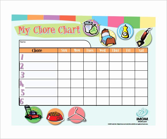 Weekly Chore Chart Templates New Weekly Chore Chart Template 24 Free Word Excel Pdf