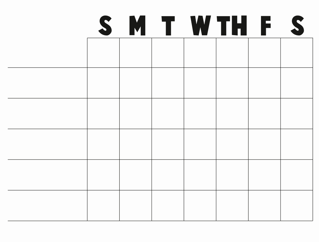 Weekly Chore Chart Templates Unique Free Printable Blank Charts