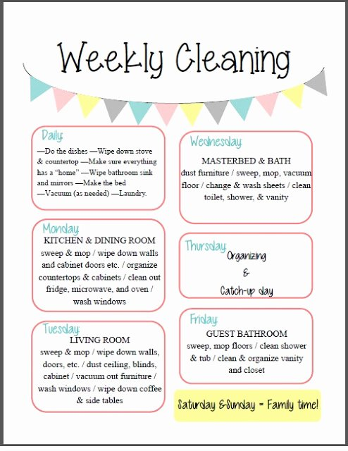 Weekly Cleaning Schedule Template Awesome orchard Girls Fix It Up Friday Free organizational