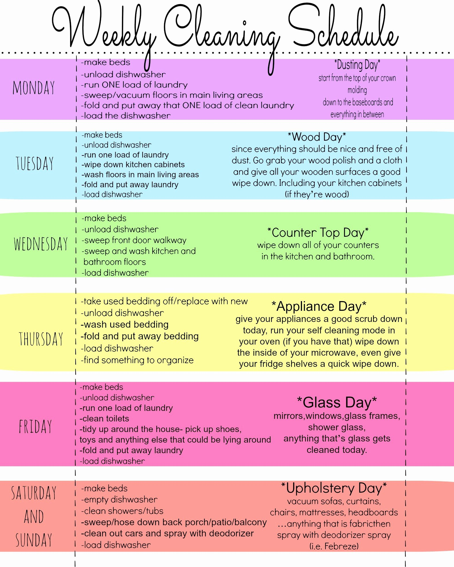 Weekly Cleaning Schedule Template Beautiful My Quirky Weekly Cleaning Chart Free Printable First