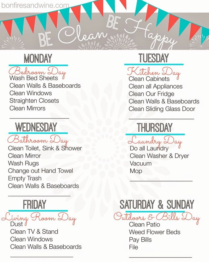 Weekly Cleaning Schedule Template Beautiful Weekly Cleaning Schedule Printable