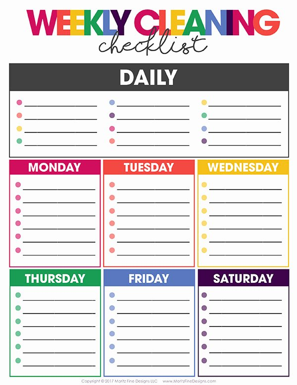 Weekly Cleaning Schedule Template Elegant Free Weekly Cleaning Checklist