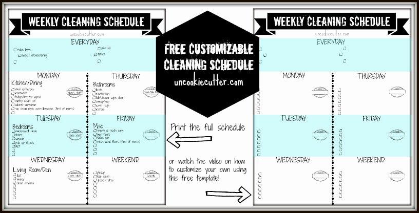 Weekly Cleaning Schedule Template Elegant Weekly Customizable Cleaning Schedule Printable and Video