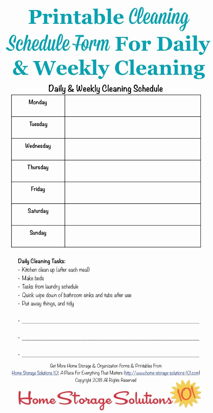 Weekly Cleaning Schedule Template Inspirational Printable Cleaning Schedule form for Daily & Weekly Cleaning