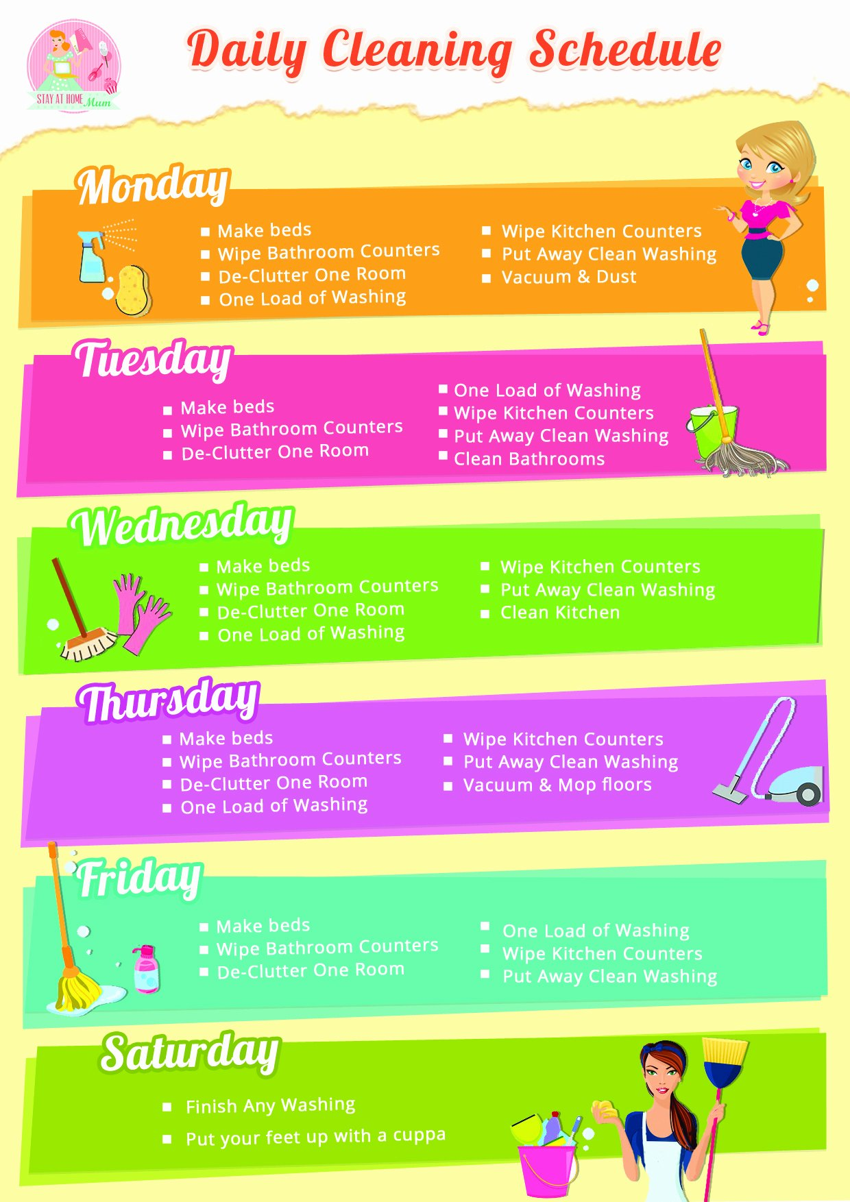 Weekly Cleaning Schedule Template Lovely Daily Home Cleaning Schedule