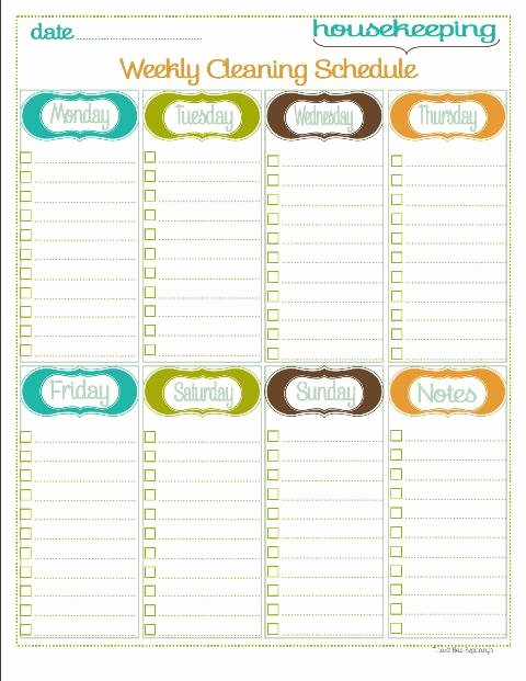 Weekly Cleaning Schedule Template Luxury Home Management Binder Housekeeping Section 5